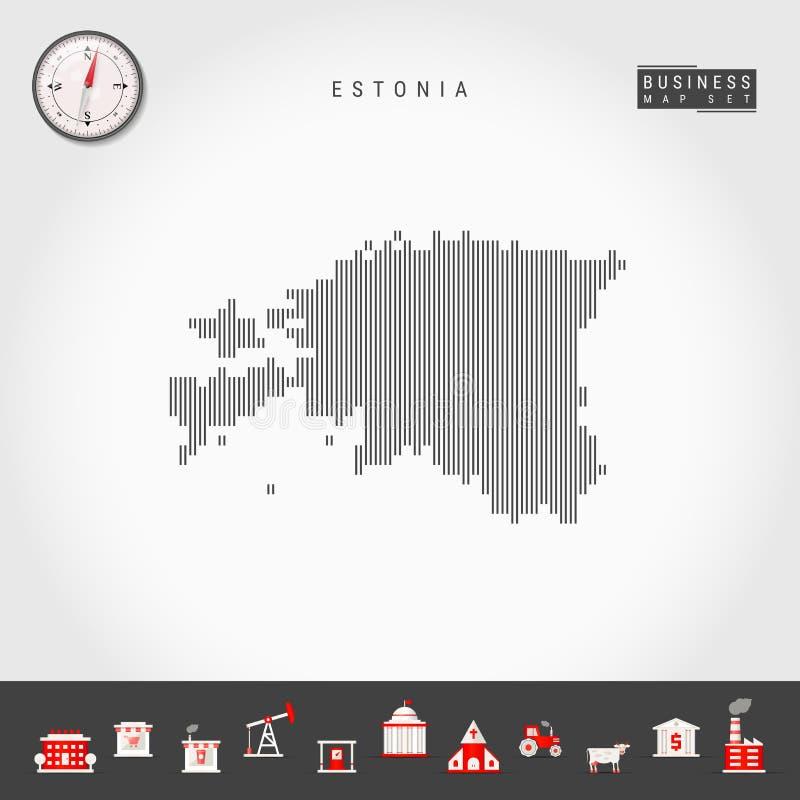 爱沙尼亚的传染媒介垂直线地图 爱沙尼亚的镶边剪影 现实指南针 r 向量例证