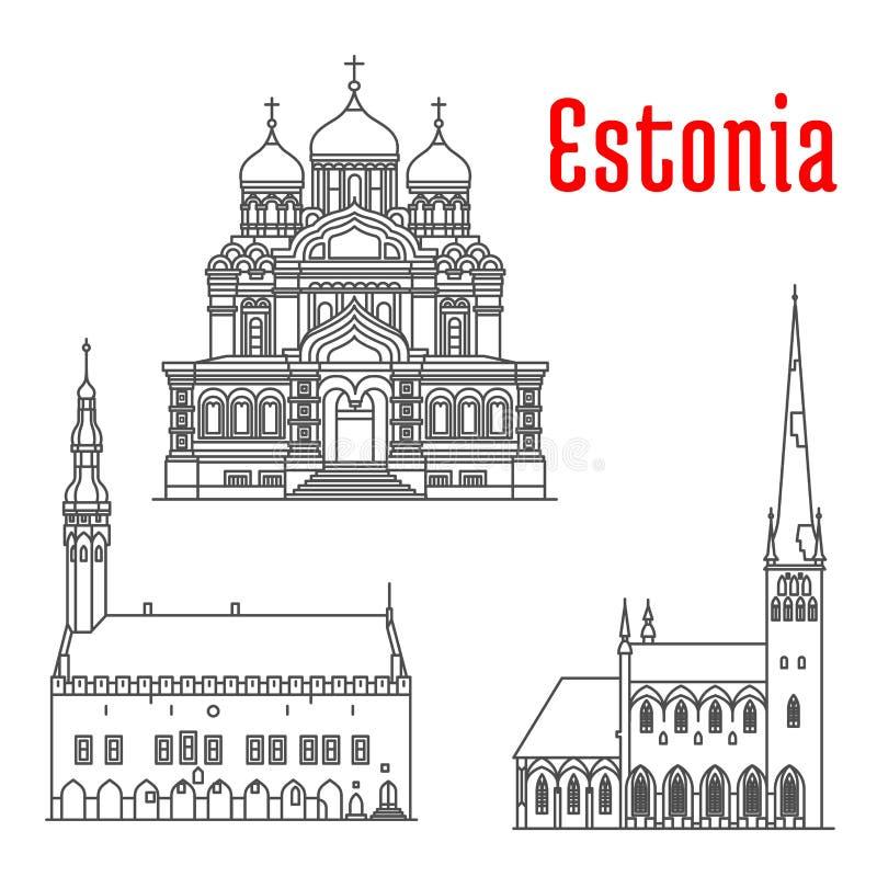爱沙尼亚的古迹和sightseeings 向量例证