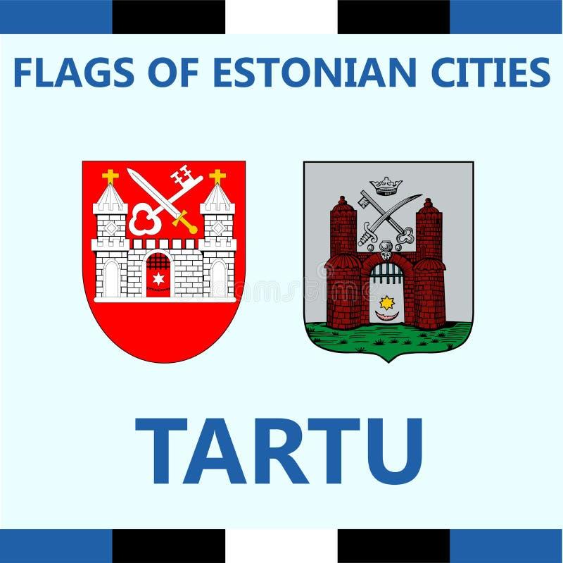 爱沙尼亚语城市塔尔图正式旗子  免版税库存照片