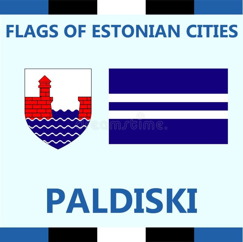 爱沙尼亚语城市帕尔迪斯基正式旗子  库存照片