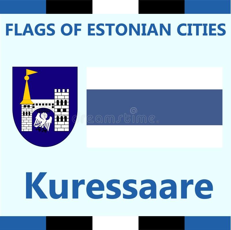 爱沙尼亚语城市库雷萨雷正式旗子  图库摄影
