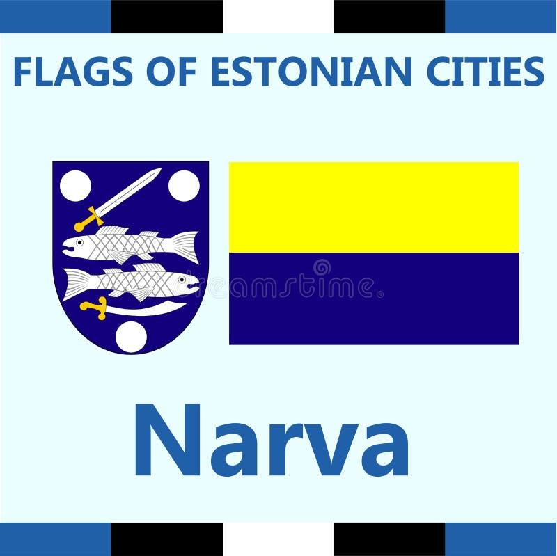 爱沙尼亚语城市纳尔瓦正式旗子  库存图片