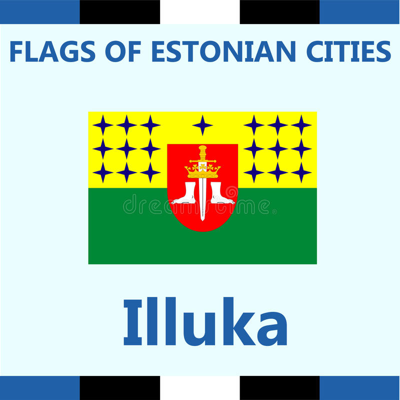 爱沙尼亚语城市Illuka正式旗子  免版税库存图片