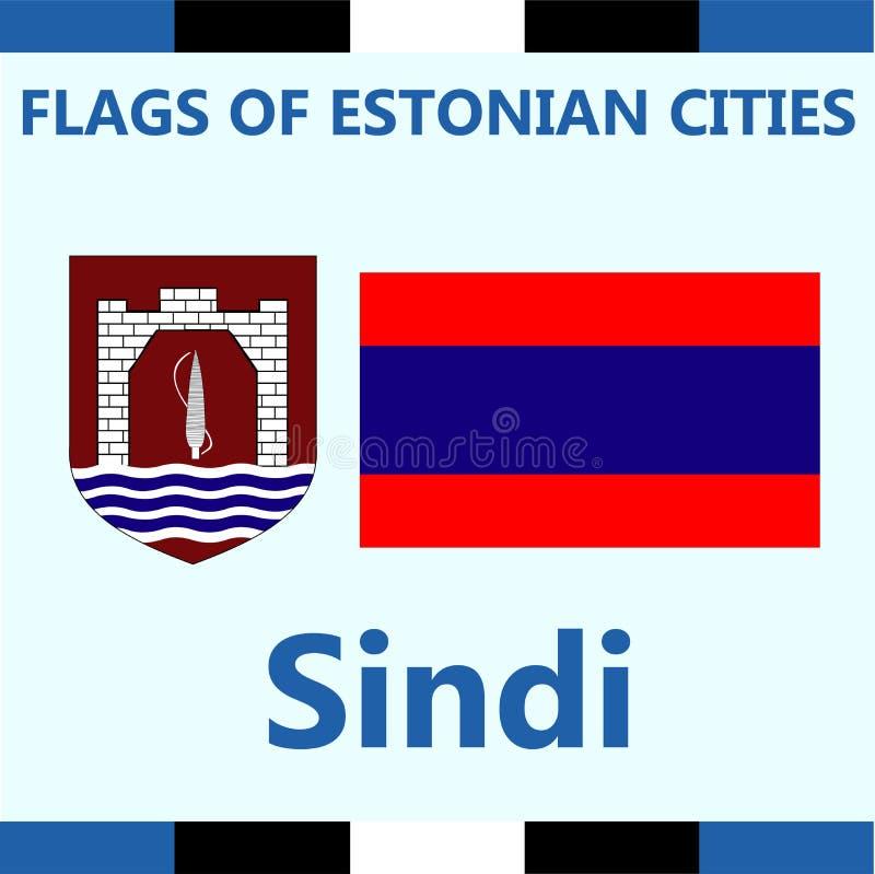 爱沙尼亚语城市Sindi正式旗子  免版税库存照片