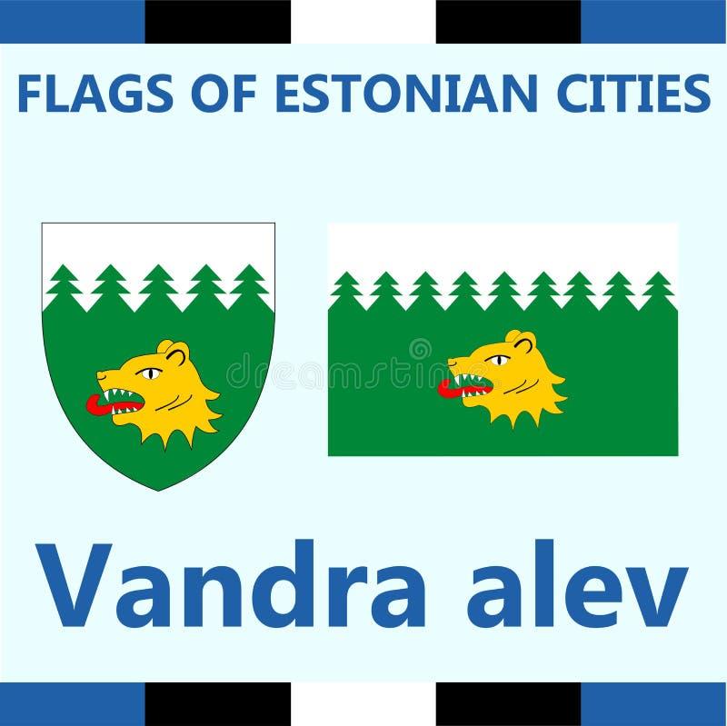 爱沙尼亚语城市Vandra alev正式旗子  免版税库存照片