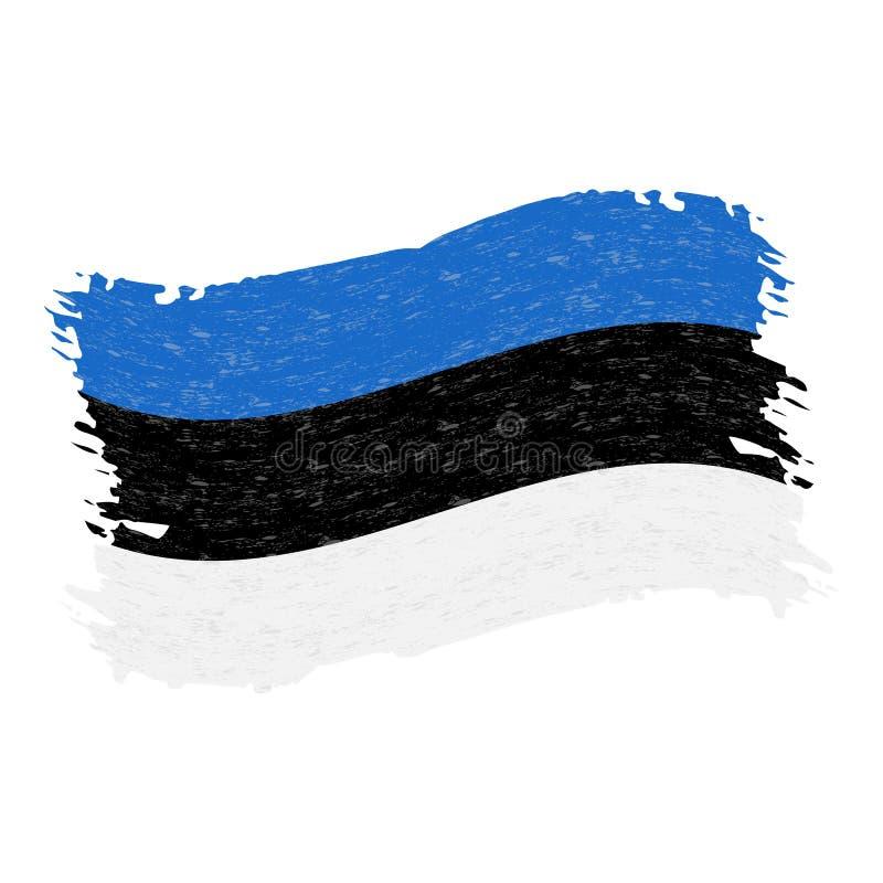 爱沙尼亚,难看的东西摘要在白色背景隔绝的刷子冲程的旗子 也corel凹道例证向量 向量例证