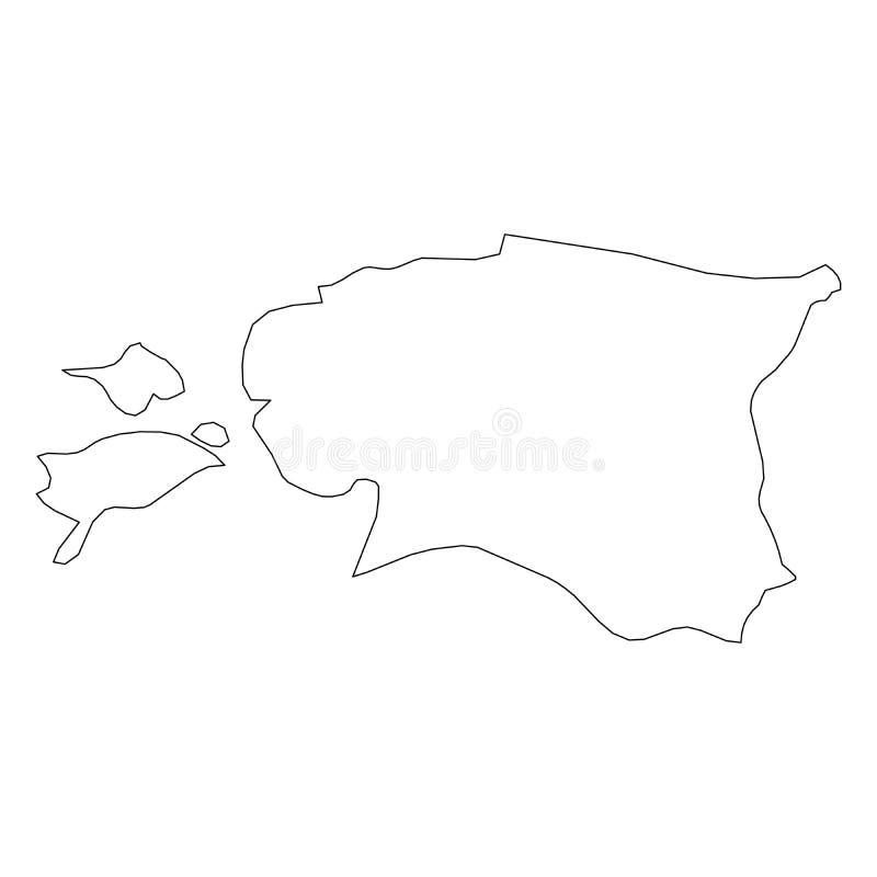 爱沙尼亚-国家区域坚实黑概述边界地图  简单的平的传染媒介例证 向量例证