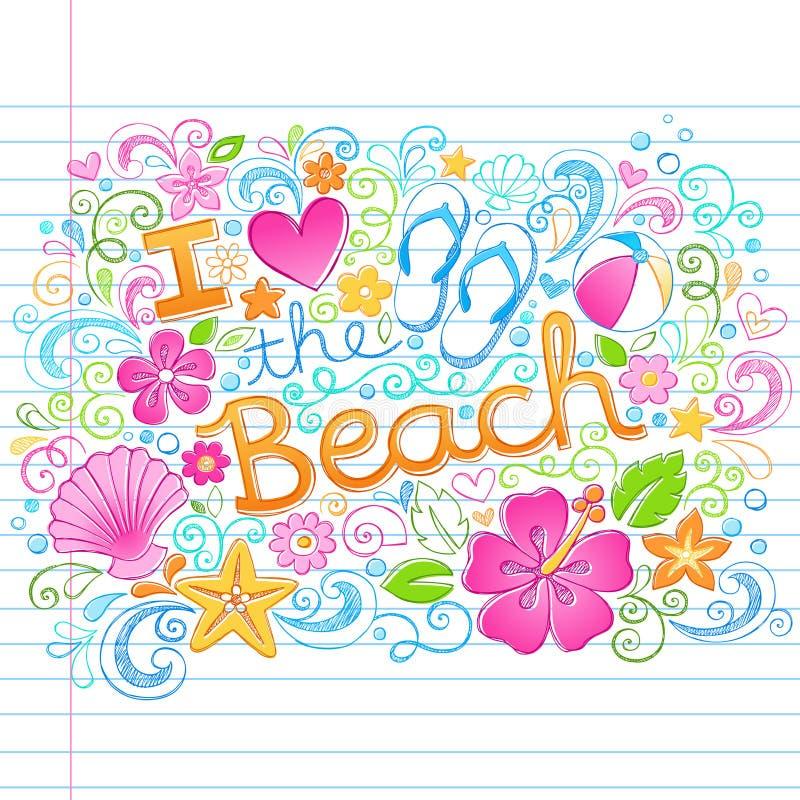 爱海滩热带夏天夏威夷假期D 向量例证