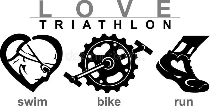 爱游泳自行车奔跑 向量例证
