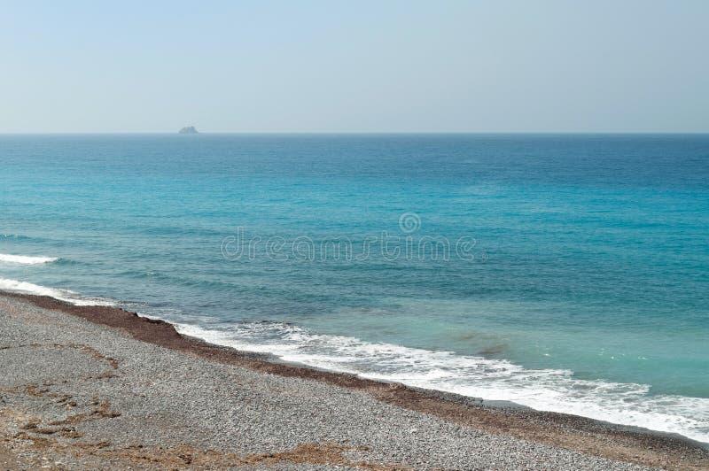 爱琴海和罗得岛Pebble海滩的看法  库存照片