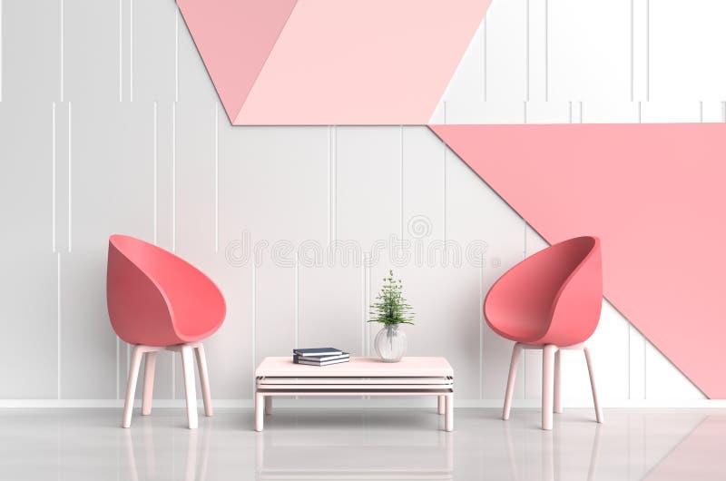 爱白红色桃红色室  爱房间在华伦泰` s天 向量例证