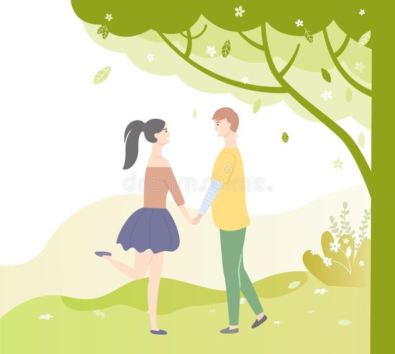 爱的人们在树下 约会少年的传染媒介 皇族释放例证