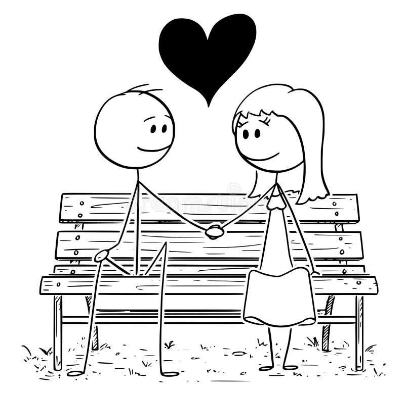 爱的夫妇动画片坐公园长椅或位子 向量例证