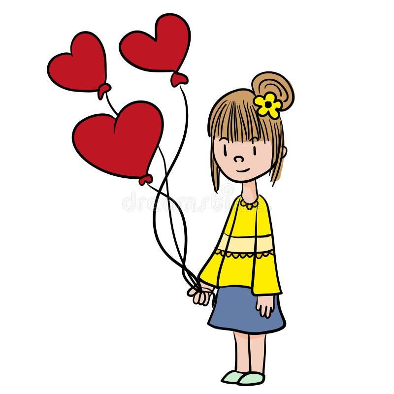 爱的女孩,与气球传染媒介 免版税库存图片