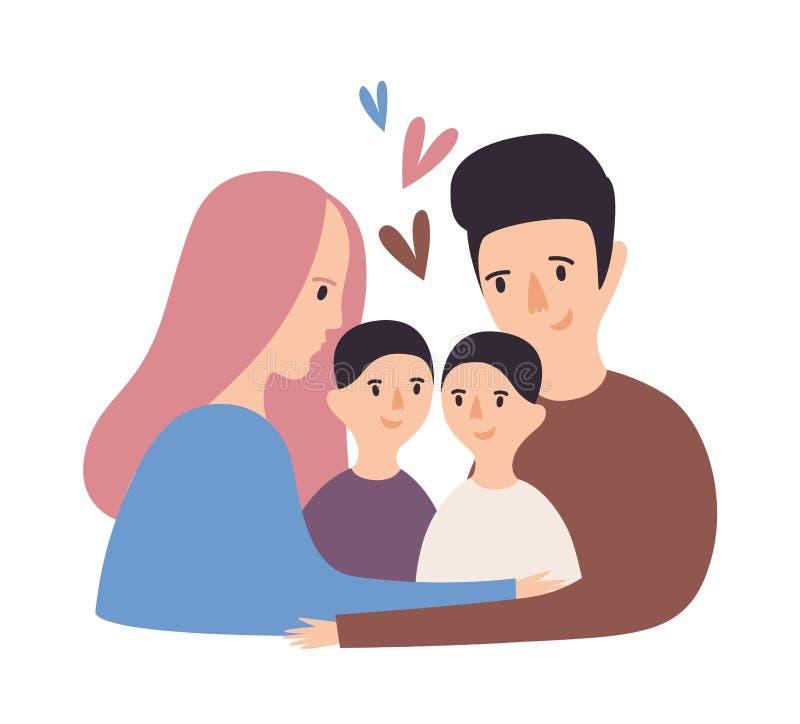 爱的家庭画象  拥抱愉快的父亲、母亲和对的孩子 逗人喜爱父母和儿童拥抱 滑稽 库存例证