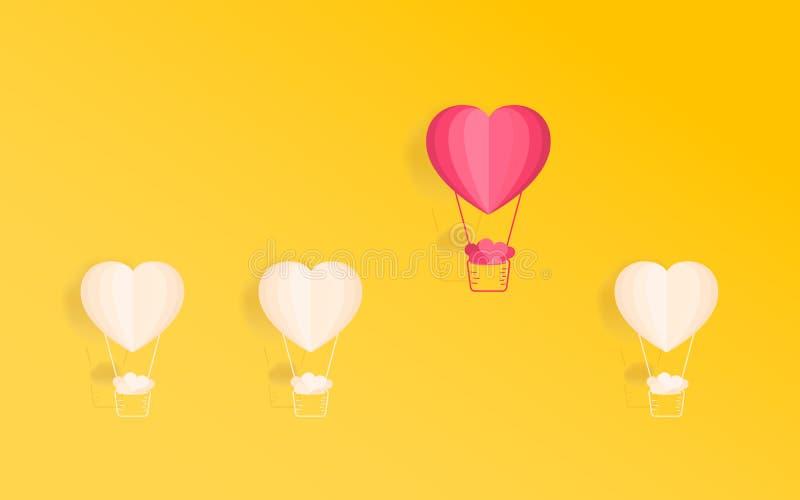 爱的愉快的华伦泰` s天概念 运载很多心脏的卓著的心脏形状热空气气球 纸艺术设计 库存例证