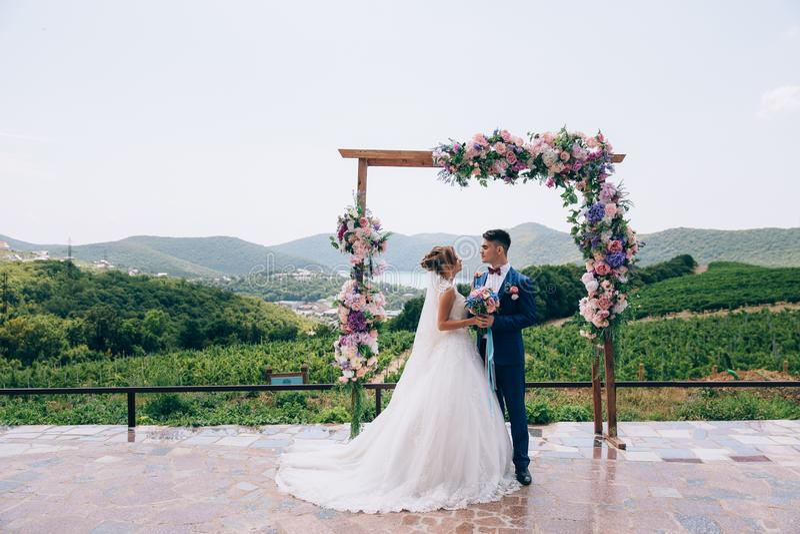 爱的新婚佳偶看彼此并且享受婚礼之日 他们在桃红色,白色和蓝色花曲拱站立  免版税库存图片