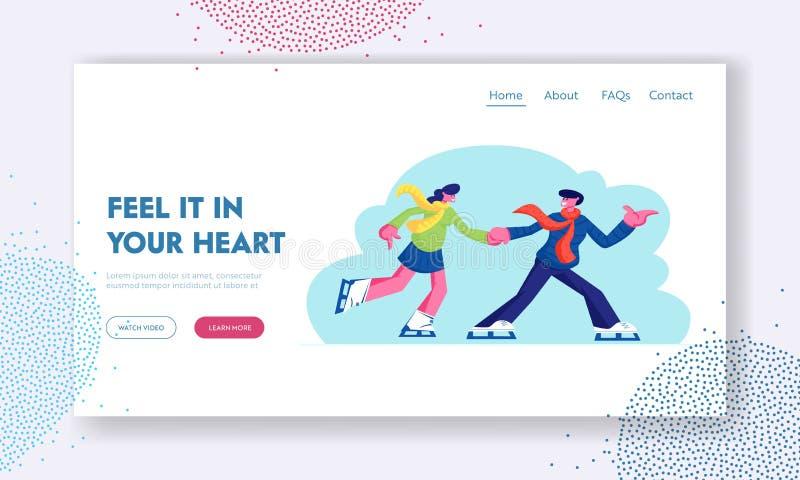 爱的联系、户外活动网站着陆页、年轻夫妇在爱人和妇女获得乐趣,活跃日期滑冰 库存例证