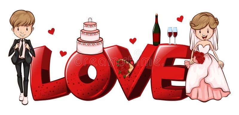 爱的词设计与婚礼夫妇 库存例证