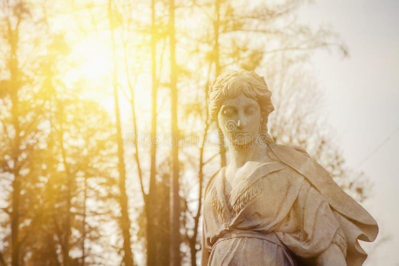 爱神在希腊神话方面,古老雕象的罗马神话片段的美之女神金星在阳光下 免版税库存照片