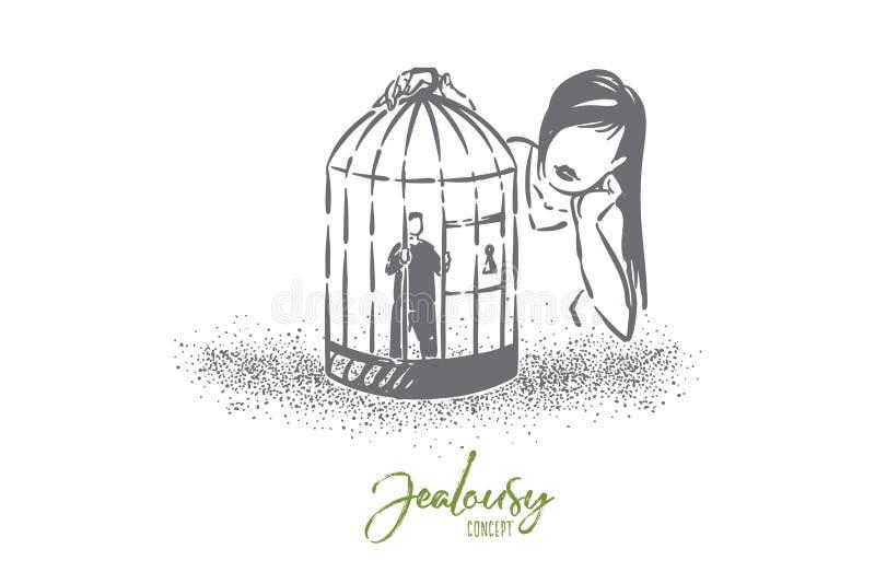 爱笼子隐喻,看男朋友微小的字符的女孩监禁在鸟笼 向量例证