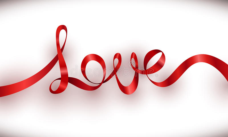 爱红色丝带字法有白色背景 皇族释放例证