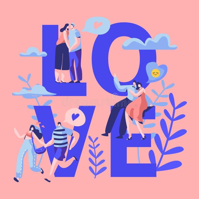 爱约会印刷术横幅的夫妇字符 愉快的恋人拥抱,亲吻,坐公园长椅 妇女人浪漫调情的人 皇族释放例证