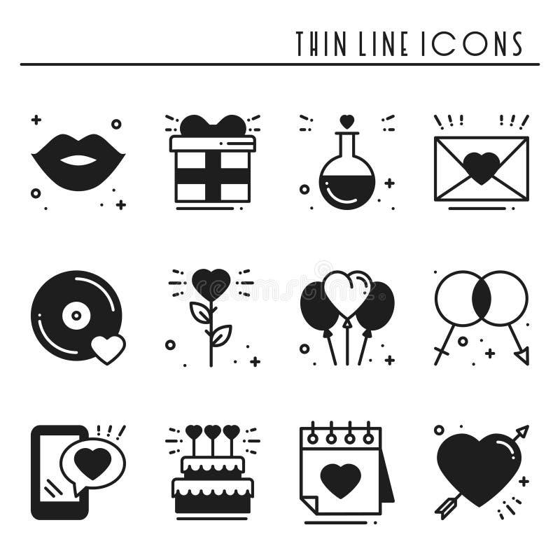 爱线被设置的象 愉快的情人节剪影标志和标志 爱,夫妇,关系,约会,婚礼 向量例证
