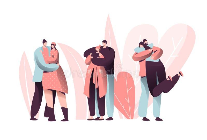 爱结合在约会集合的华伦泰的字符拥抱 愉快的恋人关系周年生活方式 浪漫妇女的人 向量例证