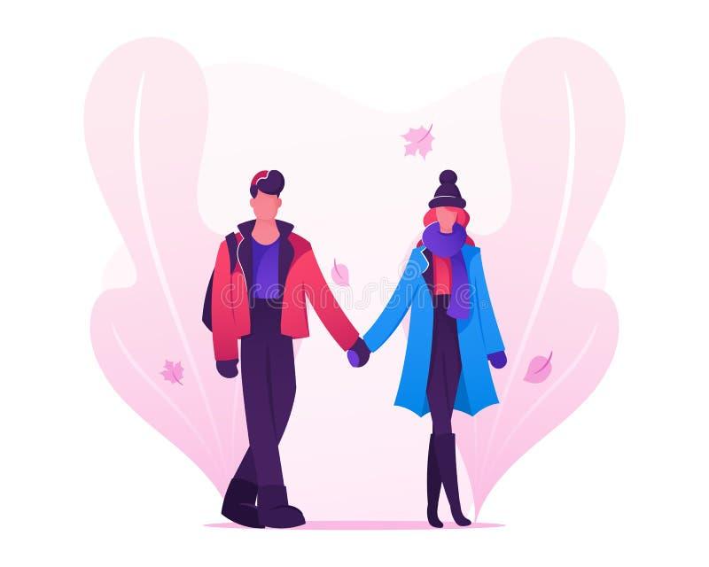 爱结合约会在穿温暖的衣物的秋天时间、年轻人和妇女握一起走在街道上的手 库存例证