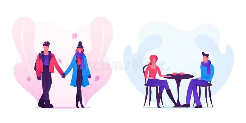 爱结合约会在穿温暖的衣物的秋天时间、年轻人和妇女握一起走的手 库存例证