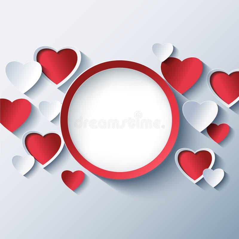 爱背景,与3d心脏的情人节框架 皇族释放例证