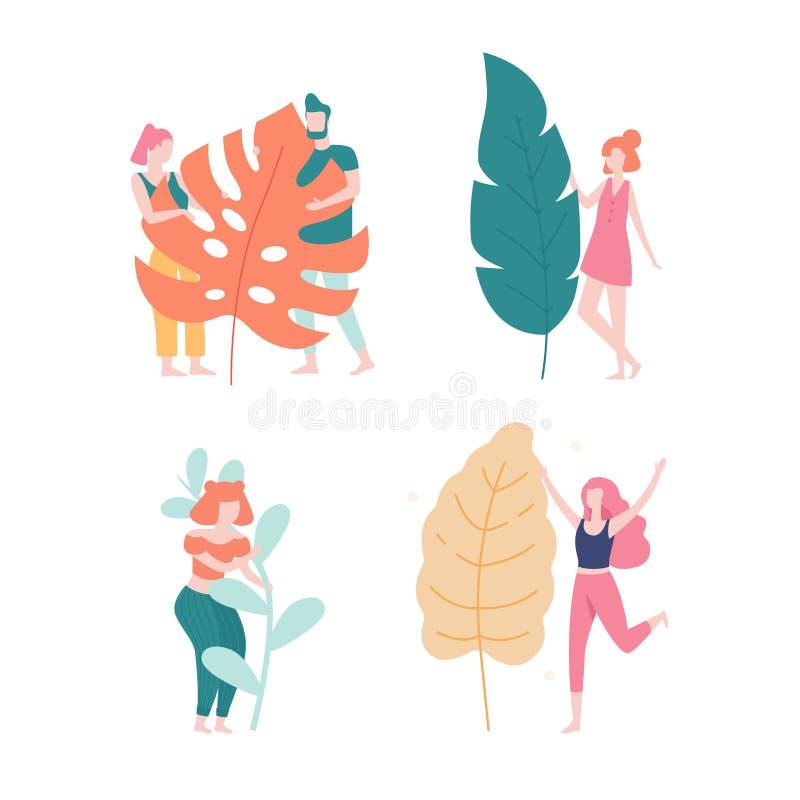 爱自然在平的设计的人们和大叶子概念例证 在热带叶子,妇女拥抱后结合 向量例证