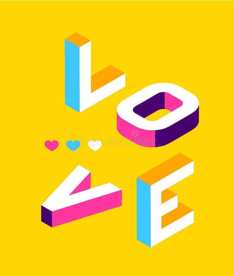 爱色的孟菲斯样式 等量词设计横幅 情人节例证 向量10 eps 皇族释放例证
