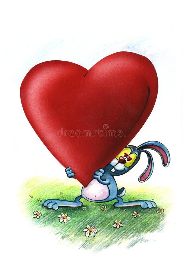 爱蓝色兔宝宝带来心脏 库存例证