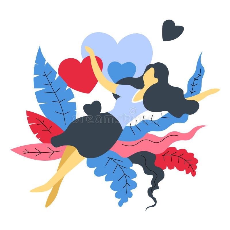 爱被隔绝的抽象象女孩的妇女灌木和心脏的 皇族释放例证