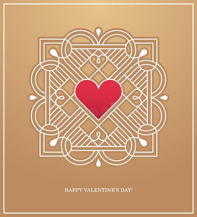 爱设计观念的金黄心脏框架 向量例证