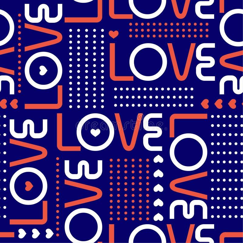 爱词和微型心脏与圈子圆点线modren样式华伦泰心情无缝的样式设计时尚的, 向量例证