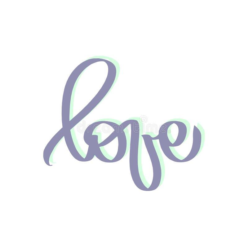 爱词手拉的字法 印刷品的逗人喜爱的设计在衬衣,海报卡片,横幅,T恤杉 可爱的蓝色,霓虹绿色 向量例证