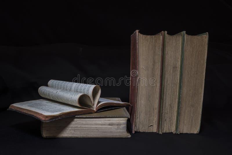 爱读书葡萄酒书 免版税图库摄影