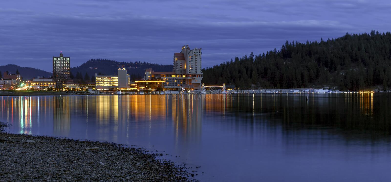 爱达荷市Pano在晚上 图库摄影