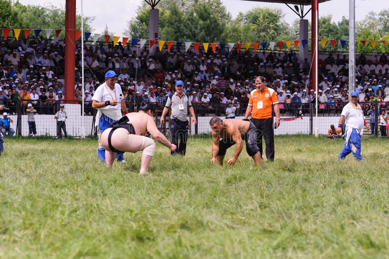 爱迪尔内,土耳其- 2010年7月26日:摔跤手竞争的土耳其pehlivan和日本相扑摔跤手在Kirkpinar Kirkpinar我 库存照片