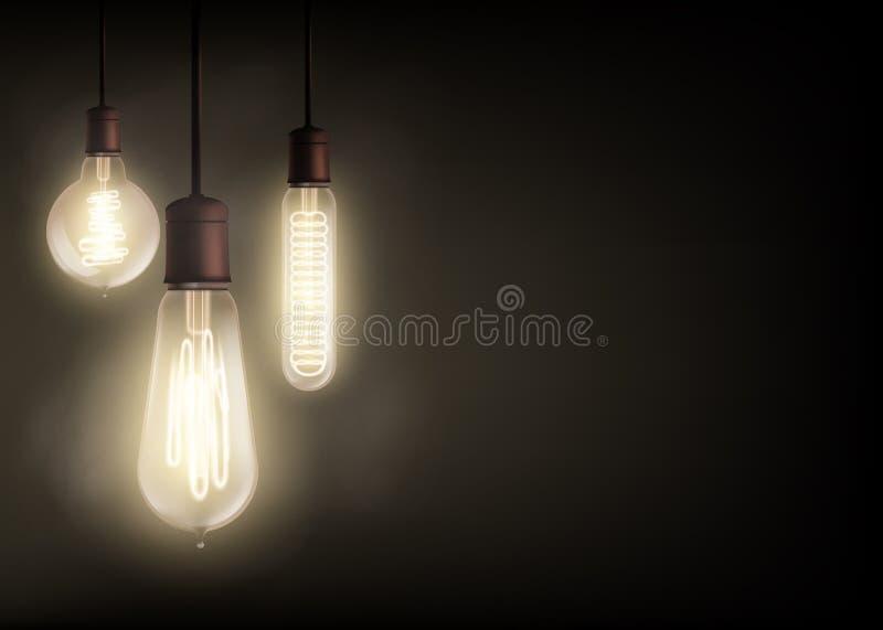 爱迪生电灯泡 向量例证