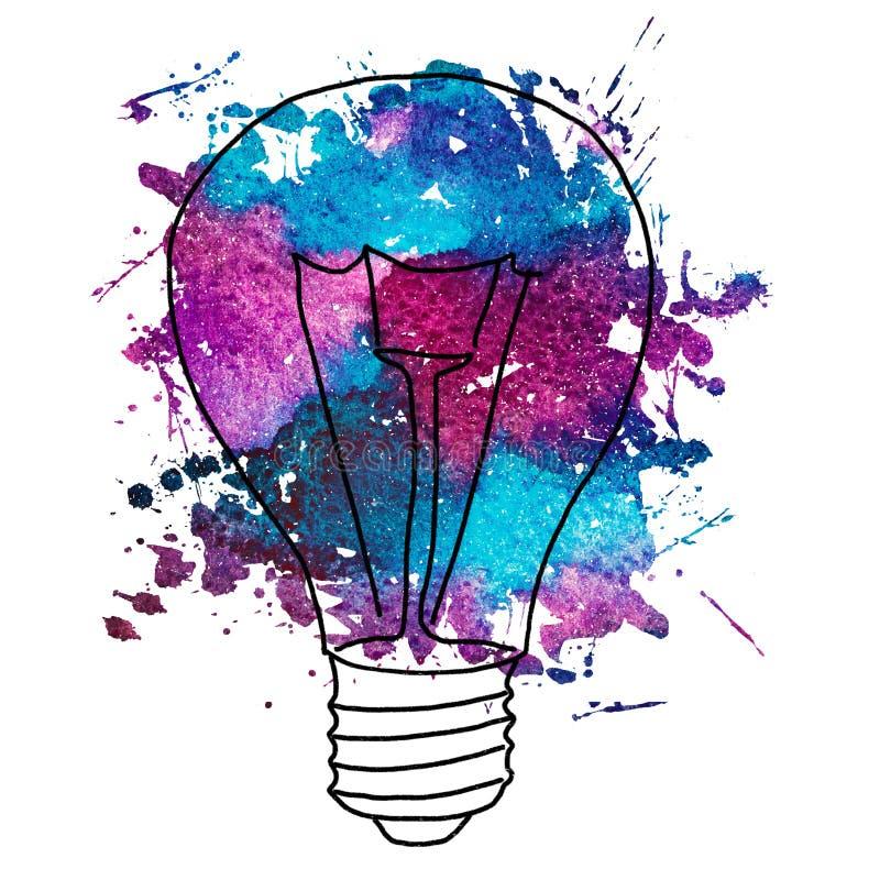 爱迪生` s电灯泡的水彩例证 皇族释放例证