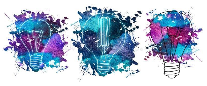 爱迪生` s电灯泡的水彩例证 向量例证
