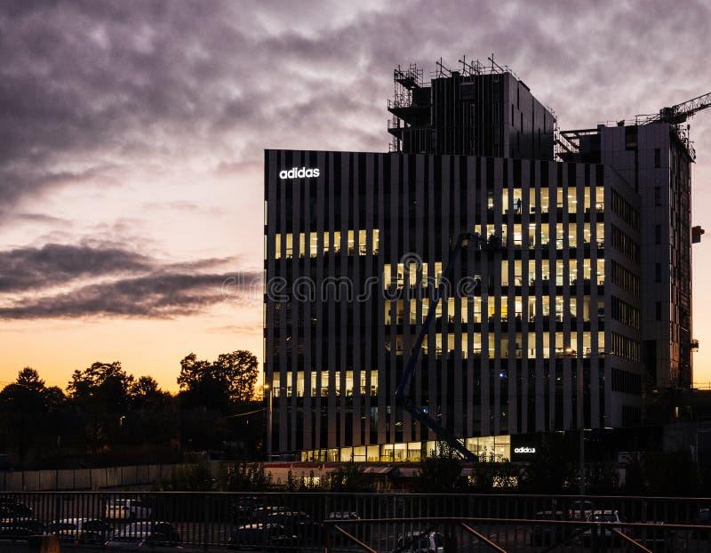爱迪达法国总部在Wacken商业区 库存图片
