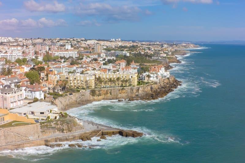 爱都酒店海岸线鸟瞰图在里斯本附近的在葡萄牙 库存照片