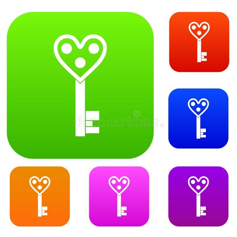 爱钥匙集合颜色收藏 库存例证
