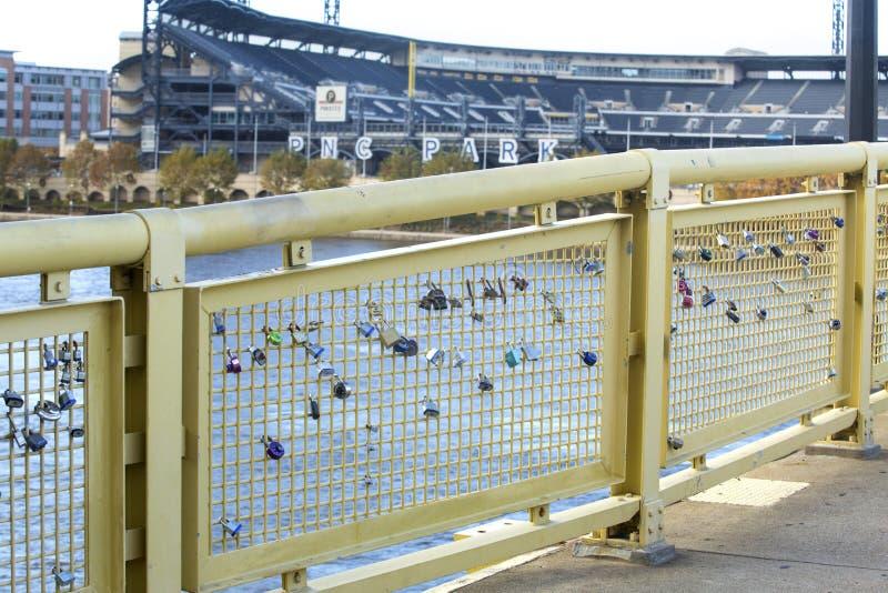 爱锁附属在匹兹堡,宾夕法尼亚操刀 库存图片