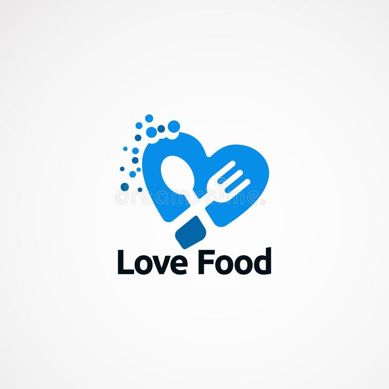 爱食物商标设计观念、象、元素和模板公司的 向量例证
